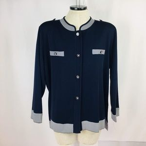 Exclusively Misook Navy Blue Stripe  Button Front